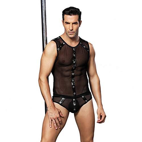 Mens Role Play Costume Lingerie Onesies Sleeveless Mesh Bulge Pouch Boxer Briefs Bodysuit Jumpsuit