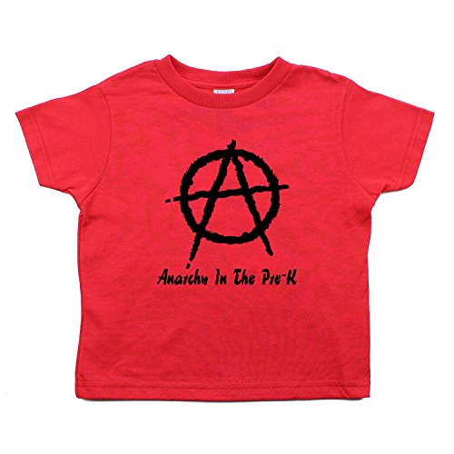 Anarchy in the Pre-K Punk Rock Kids Toddler Short Sleeve T-Shirt in Red, (Punk Rock For Kids)
