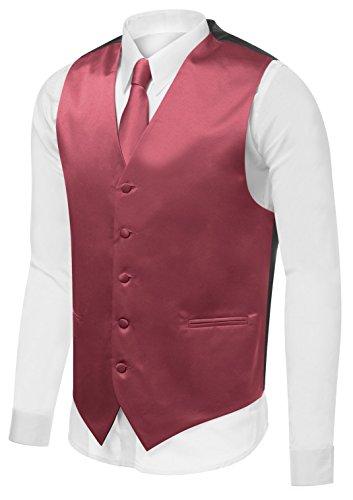 Azzurro Men's Dress Vest Set Neck Tie, Hanky for Suit or Tuxedo, X-Large, Burgundy V21