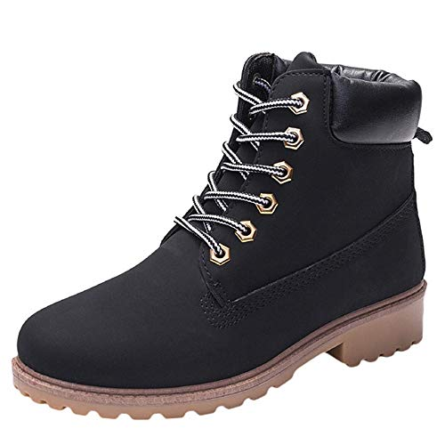 - COPPEN Women Boots Retro Solid Ankle Thick Lace-up Short Round Toe Casual Shoes