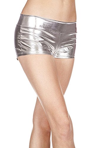 Hot Halloween Costume Party Pics (Women's Metallic Booty Shorts Liquid Wet Look Shiny Bottoms Hot Pants for Halloween Dancing Raves Costume)