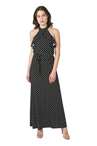 Satin Bebe (bebe Women's Cold Shoulder Ruffle Overlay Polka Dots Printed Hammer Satin Flowy Chic Dress Black White 8)