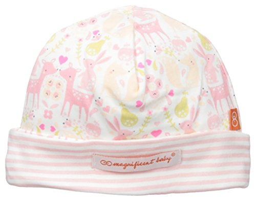Magnificent Baby Baby-Girls Woodland Damask Reversible Hat, Woodland Stripes, One (Woodland Cotton Cap)