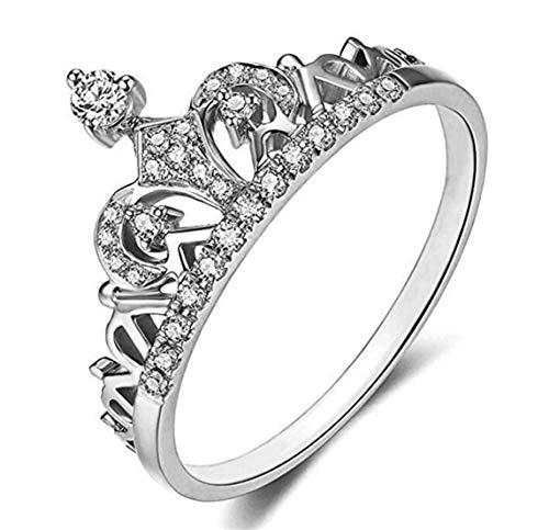 LOSOUL Exquisite Princess Crown Tiara Design Tiny Cubic Zirconia Diamond Accented Fashion Ring,#9