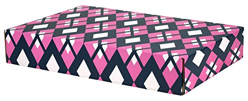 Gift Shipping Box, Classic Line, Pink/Navy Argyle (Large Size - 48 Pack) (Classic Pink Gift Box)