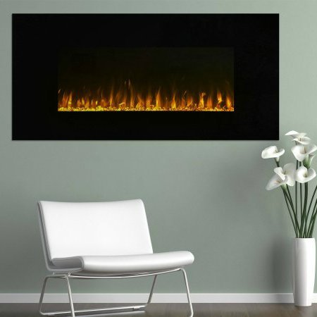 Electric Fireplace, Wall Mounted, LED Fire and Ice Flame