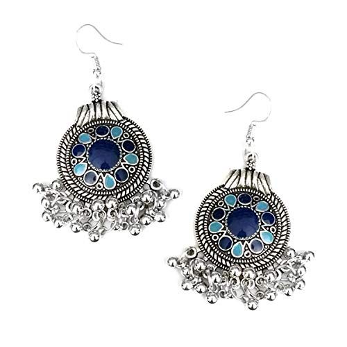 Blue Enameled Antiqued Silver Circle Chandelier Earrings with ()