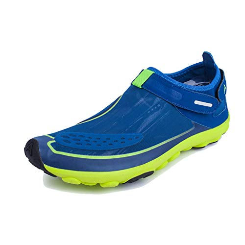 EXEBLUE Unisex Water Shoes Men Women Lightweight Breathable Mesh Aqua Shoes for Swim Walking Lake Beach Boating Blue 11.5