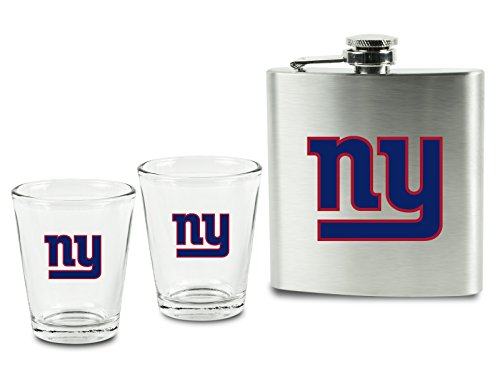 Pro Specialties Group (PSG) NFL New York Giants Shot Glasses &  Brushed Stainless Steel Flask Set ()