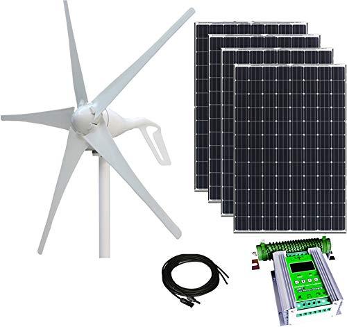 (800W Wind & Solar Kit - 400W Wind Turbine + 4x100W Mono Solar Panel + 24V Hybrid MPPT Contr.)