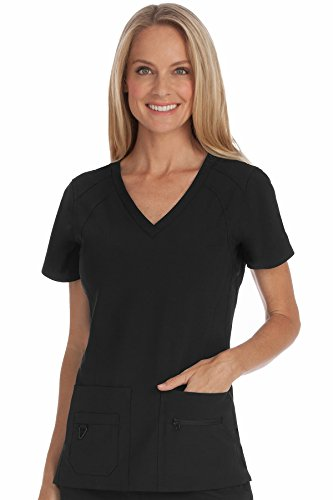 Med Couture Activate Women's V-Neck Racerback Scrub Top, Black, Small from Med Couture