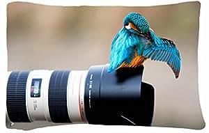 Microfiber Peach Queen Size Decorative PillowCases -Animals Birds Birds cameras depth of field