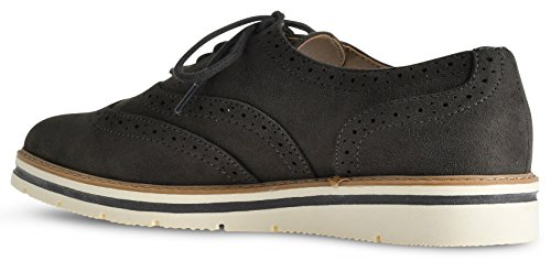 Flats Womens Platform Oxford Sneakers Trim Brogue Loafers Grey Tinsley Up LUSTHAVE Imsu Lace 8ZwTZqF