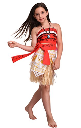 5eb133af1 Goodsaleok Girl Women Moana Cosplay Costume Polynesia Princess Dress Outfit  for Halloween Party, Adult S