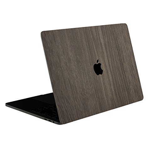 SOJITEK - [Brown Wood Texture] 4-in-1, Full-Size 360° Protector / Skin Decals Cover for MacBook Pro 13