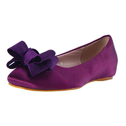 Damara Damen Süße Round Toe Comfort Flats Schuhe mit Bowknot Lila