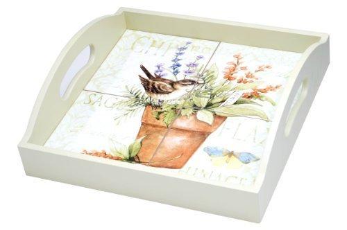 4 Tile Wood Tray - 4