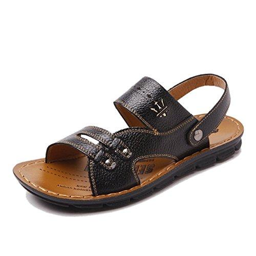 Stifai Cool Summer Skidproof Lightweight Leather Mens Sandals Black SbzVGFJ