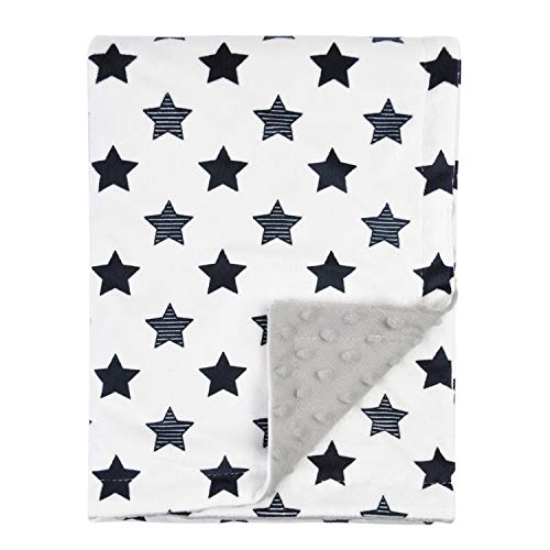 Boritar Baby Blanket Soft Minky with Double Layer Dotted Backing, Little Star Printed 30 x 40 Inch Receiving Blanket