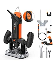 """Compact Router, Tacklife 30000 RPM Variable Speed Plunge Router with 1m Flexible Shaft, Chuck Collet Diameter 1/8"""" & 1/4"""" & 6mm, 600W, 3m Cable, 2 Bit, Auxiliary Handle, Compasses, Edge Guide PTR01A"""