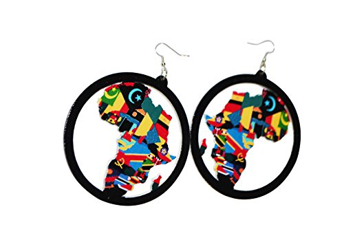 Africa Earrings Black Wooden Map For Women And -
