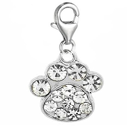 - SEXY SPARKLES Clip on Dog Paw Charm Bead Pendant for European Clip on Charm Jewelry with Lobster Clasp