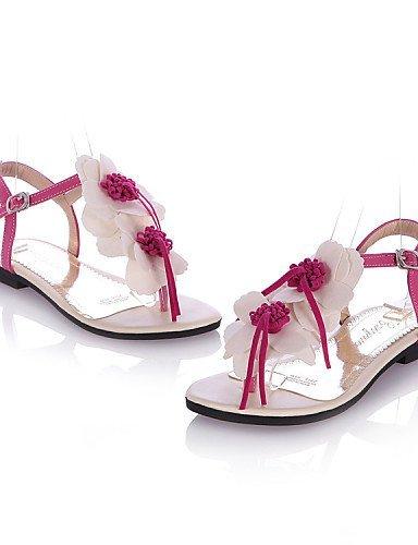 ShangYi Women's Shoes Leatherette Flat Heel Comfort / Open Toe Sandals Dress / Casual Black / Red / Beige Black tRERJxZxfa