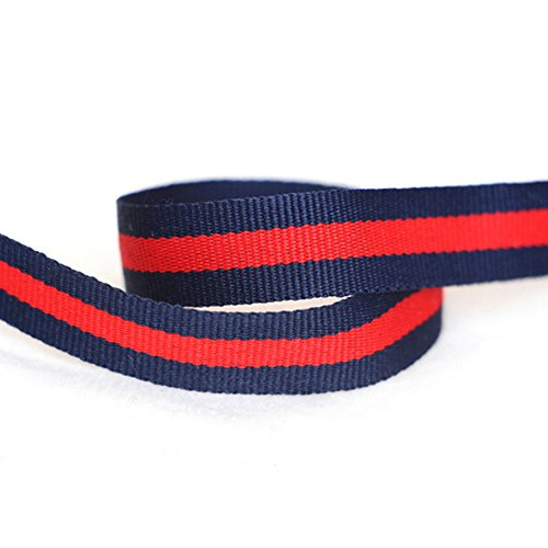 ornerx Striped Grosgrain Ribbon Red Dark Blue 1