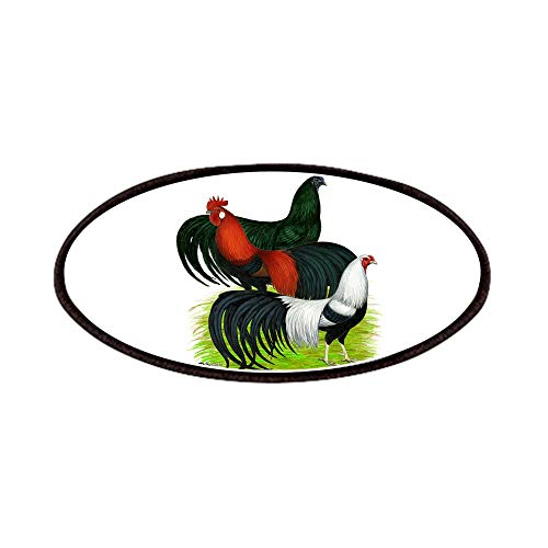 CafePress Long Tailed Roosters Patches Patch, 4x2in Printed Novelty Applique Patch