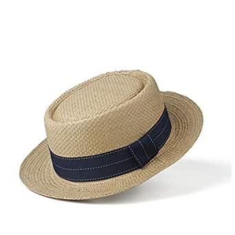 Sun Hat for men and women Women's New Straw Hat Sun Hat Flat Natural Summer Beach Hat Panama Hat UV Protection Hat Visor (Color : Coffee, Size : 56-58CM)
