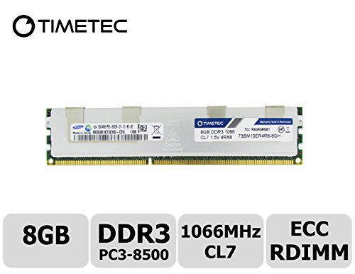 Timetec 8GB DDR3 1066MHz PC3-8500 Registered ECC 1.5V CL7 4Rx8 Quad Rank 240 Pin RDIMM Server Memory Ram Module Upgrade (Server Only, Not for Desktop/Laptop) (8GB)