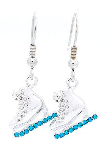 ICE SKATE EARRINGS - SKATER EARRINGS - CRYSTAL SKATE EARRINGS - MANY COLORS AVAILABLE POST & DANGLE! - TEAL DANGLE -