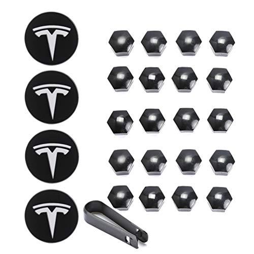 ROCCS Tesla Wheel Center Cap Hub Nut Cover Kit, Set Aero Hub Center Cap Lug Nut Cover for Model S X 3, White (Model Aero)