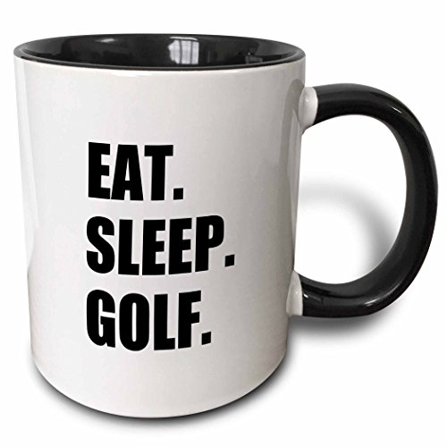 3dRose mug_180407_4 Eat Sleep Golf Fun text gifts for golfing enthusiasts and pro golfers - Two Tone Black Mug, (Golfing Mug)