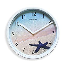 JustNile 12-inch Nautical Silent Battery Operated Round White Plastic Analog Wall Clock, Beach Theme with Starfish Pattern Design