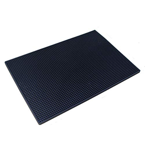 Rubber Bar Service Mat, Heavy-Duty Rubber Bar Mats, Leakproof & Non Slip Tabletop Black Drink Coasters for Bar Kitchen Restaurant Hotel Beverages Furniture (Granite Table Restaurant Tops)