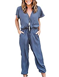 affd185de87 Mupoduvos Women Summer Plain Short Sleeve V Neck Chiffon Jumpsuit Pants  Romper