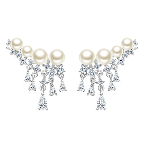 EleQueen 925 Sterling Silver CZ AAA Button Cream Freshwater Cultured Pearl Ear Crawlers Earrings 1 Pair Ivory Color