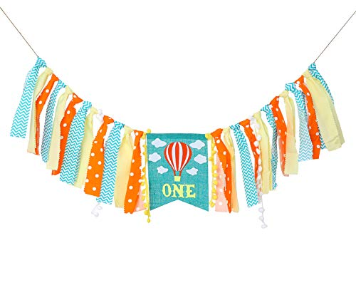Hot Air Balloon Banner for 1st Birthday - Cake Smash Photo Prop for High Chair,Party Decoration for First Baby Birthday,Birthday Souvenir for Baby Boy(Green Yellow White) ()