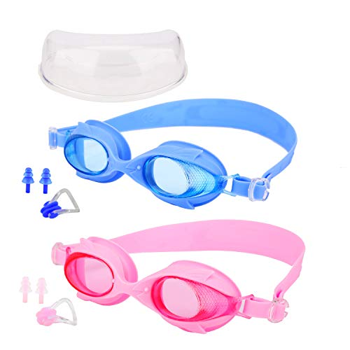 AQUA A DIVE SPORTS Swimming Goggles for Kids, 2 Packs Anti Fog Swimming Goggles UV Protection Wide View Swim Glasses with Portable Case for Children and Teens