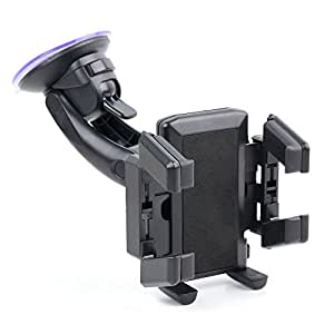 DURAGADGET Windshield Fixed Arm Phone Holder With Multi Surface Suction Mount For Sony Xperia SX, Xperia GX & Omnia M
