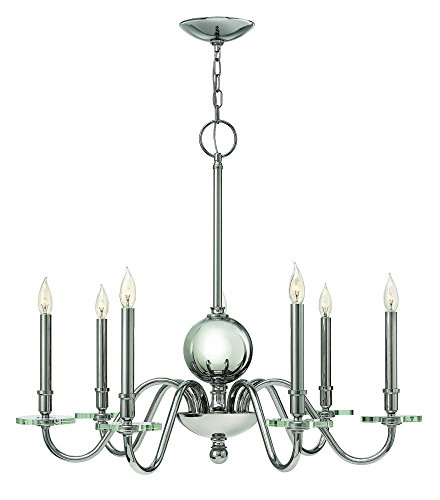 Hinkley Lighting 4206 Everly 7 Light 1 Tier Candle Style Chandelier, Polished - Seven Candle Chandelier Light