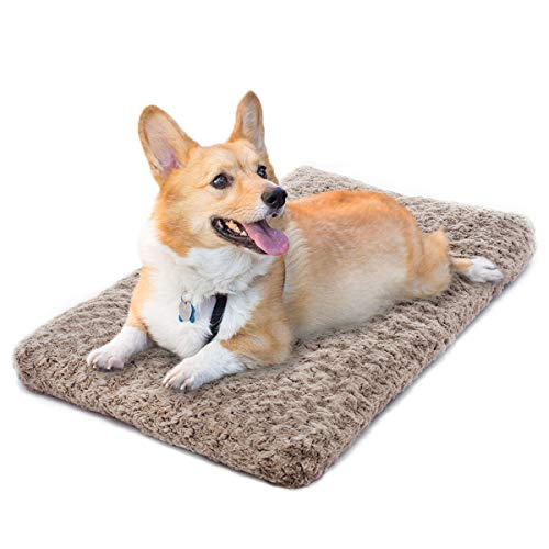 MIXJOY Dog Bed Ultra Soft Crate Pad Home Washable Mat for Medium Dogs and Cats Crate (30-inch, Mocha)