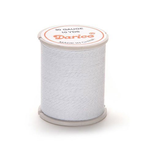 Bulk Buy: Darice DIY Crafts Cloth Covered Wire 30 Gauge White 10 yards (6-Pack) - Center 30 10 Shopping