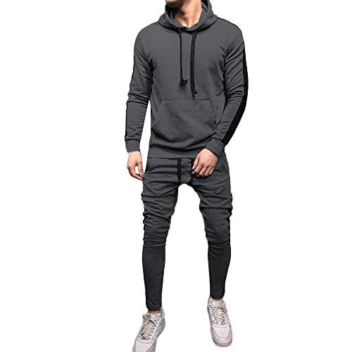 iLXHD Athletic Tracksuits Long Sleeve Solid Jumper Sweater Pans Sweat Suit(X-Gray ()