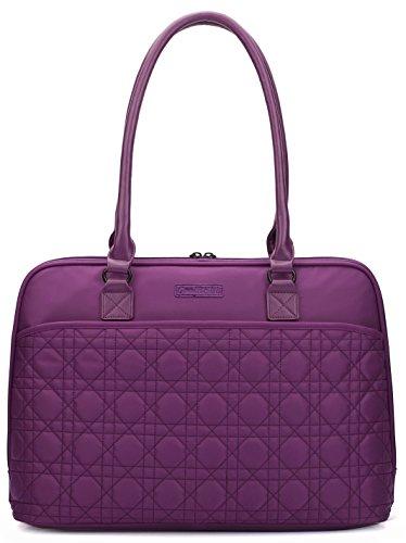 CoolBELL Women Tote Bag 15.6 Inch Laptop Handbag Nylon Briefcase Classic Shoulder Bag Large-Size Top-handle Bag (Purple)