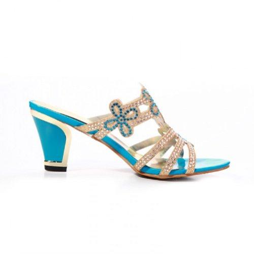 Carol Scarpe Nuova Estate Strass Donna Tacco Alto Pantofole Sandalo Open Toe Blu