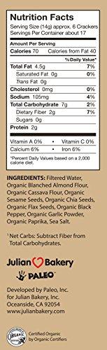 Julian Bakery Paleo Thin Crackers   Salt & Pepper   USDA Organic   Gluten-Free   Grain-Free   GMO Free   Low Carb   3 Pack