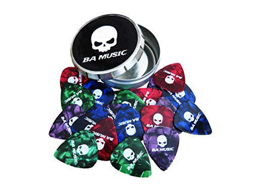BA Music Premium Pearl Celluloid Skull Guitar Picks 20 Pack (4 Colors) (Thin 0.46mm)