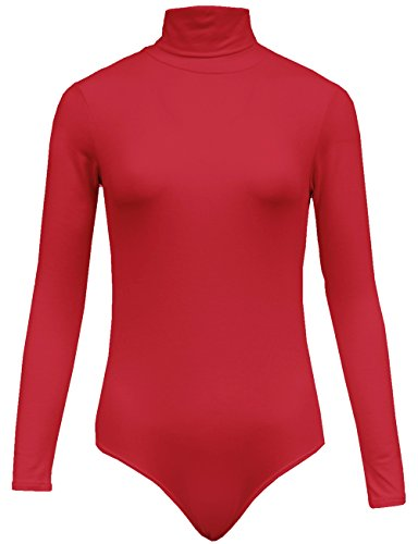KOOLDO Womens Basic Solid Turtleneck Long Sleeve Bodysuit with Stretch-L-CORAL